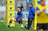 Bath Rugby Head Coach Mike Ford looks on during the pre-match warm-up. West Country Challenge Cup match, between Gloucester Rugby and Bath Rugby on September 13, 2015 at the Memorial Stadium in Bristol, England. Photo by: Patrick Khachfe / Onside Images