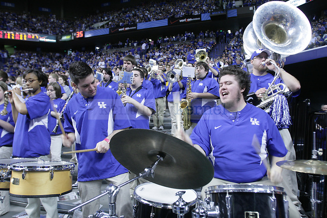 Junior Tyler Swick and Junior Jon DeShetler, Music majors, Playing together at the UK vs. Florida game on Mar. 7 in Rupp Arena.
