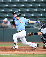 Hickory Crawdads Tyler Depreta-Johnson (2) bats during a game with the Asheville Tourists at L.P. Frans Stadium on May 8, 2019 in Hickory, North Carolina. The Tourists defeated the Crawdads 7-6. (Tracy Proffitt/Four Seam Images)