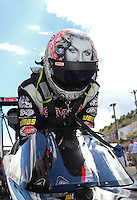 Jul, 22, 2012; Morrison, CO, USA: NHRA top fuel dragster driver Steve Torrence during the Mile High Nationals at Bandimere Speedway. Mandatory Credit: Mark J. Rebilas-