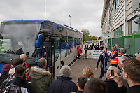 Matt Bloomfield of Wycombe arrives for the Sky Bet League 2 match between Yeovil Town and Wycombe Wanderers at Huish Park, Yeovil, England on 8 October 2016. Photo by Mark  Hawkins / PRiME Media Images.