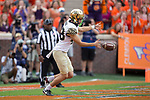 Dom Maggio (48) of the Wake Forest Demon Deacons punts from his own end zone during second half action against the Clemson Tigers at Memorial Stadium on October 7, 2017 in Clemson, South Carolina.  The Tigers defeated the Demon Deacons 28-14. (Brian Westerholt/Sports On Film)