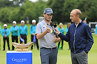 BBC's Stephen Watson with Cormac Sharvin (NIR) highest placed Irish golfer with the Bridgestone Award at the end of Sunday's Final Round of the Northern Ireland Open 2018 presented by Modest Golf held at Galgorm Castle Golf Club, Ballymena, Northern Ireland. 19th August 2018.<br /> Picture: Eoin Clarke | Golffile<br /> <br /> <br /> All photos usage must carry mandatory copyright credit (&copy; Golffile | Eoin Clarke)