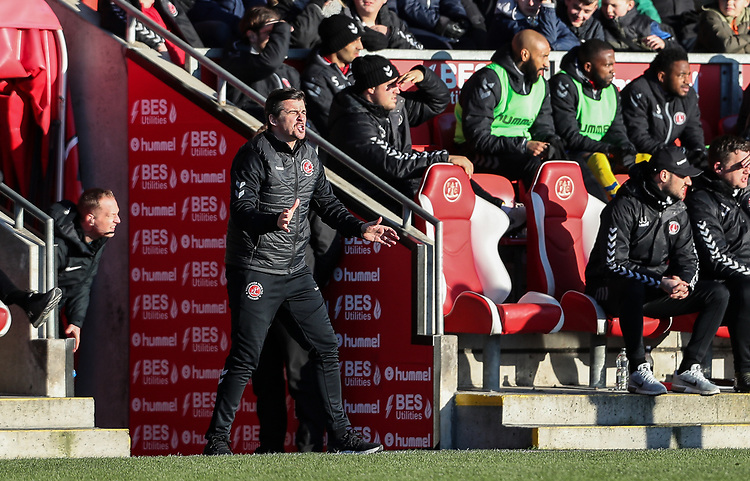 Fleetwood Town's manager Joey Barton  <br /> <br /> Photographer Andrew Kearns/CameraSport<br /> <br /> The EFL Sky Bet League One - Fleetwood Town v Charlton Athletic - Saturday 2nd February 2019 - Highbury Stadium - Fleetwood<br /> <br /> World Copyright © 2019 CameraSport. All rights reserved. 43 Linden Ave. Countesthorpe. Leicester. England. LE8 5PG - Tel: +44 (0) 116 277 4147 - admin@camerasport.com - www.camerasport.com