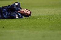 23rd November 2019; Estadio Santiago Bernabeu, Madrid, Spain; La Liga Football, Real Madrid versus Real Sociedad; Mikel Oyarzabal (Real Sociedad)  injured on the pitch after a collission with Daniel Carvajal (Real Madrid)