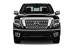 Car photography straight front view of a 2017 Nissan Titan Platinum-Reserve-Crew 4 Door Pickup Front View