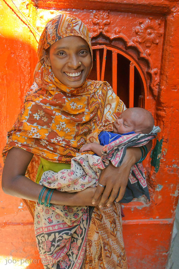 young mother in Varanasi, India