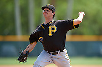 Pittsburgh Pirates Daniel Zamora (77) during a minor league Spring Training game against the New York Yankees on March 26, 2016 at Pirate City in Bradenton, Florida.  (Mike Janes/Four Seam Images)