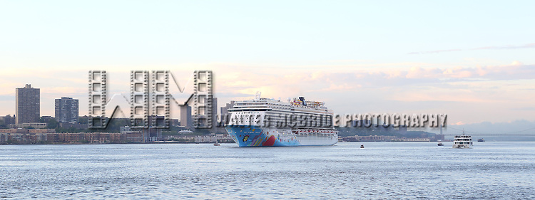 Norwegian Breakaway takes its bow in Manhattan, New York City on 5/8/2013. The Cruise Ship holds 4,028-passengers and costs more than $900 million. It will sail from New York City year-round...