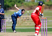 Alice Davidson-Richards bowls for Kent during the Women's Royal London County Championship game between Kent ladies and Lancashire ladies at the County Ground, Beckenham, on May 7, 2018