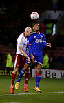 Conor Sammon of Sheffield Utd challenges Timothy Dieng of Oldham Athletic - FA Cup Second round - Sheffield Utd vs Oldham Athletic - Bramall Lane Stadium - Sheffield - England - 5th December 2015 - Picture Simon Bellis/Sportimage