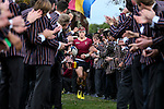 Joe Johnston of Kings College leads his team onto the field. 1st XV rugby union, Kings College v Auckland Grammar School,Kings College, Auckland, New Zealand. Saturday 18 June 2016. Photo: Simon Watts/www.bwmedia.co.nz for Kings College
