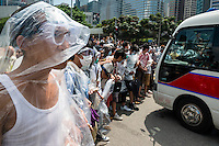 Hong Kong, Government Offices, 28 September 2014<br /> <br /> Middle of the day around the HK government offices. Protesters are prepared for pepper spray and teargas with plastic raincoats and goggles.<br /> <br /> Photo Kees Metselaar