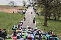 peloton cruising through the Ardennes<br /> <br /> 103rd Liège-Bastogne-Liège 2017 (1.UWT)<br /> One Day Race: Liège › Ans (258km)