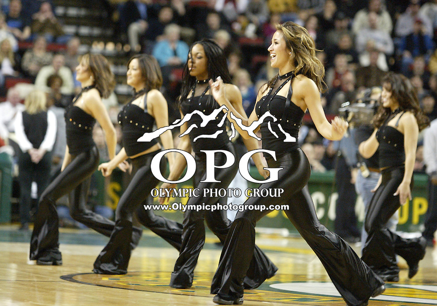 Seattle Super Sonics dancers entertained the crowd before, during and after the Atlanta Hawks game in Key Arena.