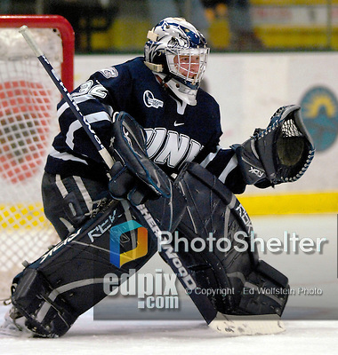"5 January 2007: University of New Hampshire goaltender Kevin Regan (32) from South Boston, MA,  in action against the University of Vermont Catamounts at Gutterson Fieldhouse in Burlington, Vermont. The UNH Wildcats defeated Vermont 7-1 in front of a record setting 48th consecutive sellout at ""the Gut""...Mandatory Photo Credit: Ed Wolfstein Photo.<br />"