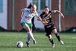 110410 Hammarbys Leena Puranen och Ume&aring;s Ramona Bachmann under fotbollsmatchen i Damallsvenskan mellan Hammarby och Ume&aring; den 10 April 2011 i Stockholm. <br /> Foto: Kenta J&ouml;nsson<br /> Nyckelord: fotboll, damallsvenskan, hammarby, ume&aring;