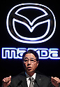 April 28, 2017, Tokyo, Japan - Japan's automobile maker Mazda president Masamichi Kogai announces the company's financial result ended March 31 in Tokyo on Friday, April 28, 2017. Mazda posted its operating profit of 125.7 billion yen, 45 percent down from previous year.   (Photo by Yoshio Tsunoda/AFLO) LwX -ytd-