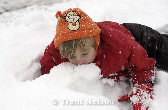 Nathaniel Nelson playing in the snow. 11/25/2001, 4:21:17 PM<br />