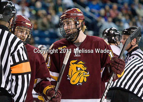 Wade Bergman (Duluth - 28), Travis Oleksuk (Duluth - 11) - The University of Minnesota-Duluth Bulldogs defeated the Union College Dutchmen 2-0 in their NCAA East Regional Semi-Final on Friday, March 25, 2011, at Webster Bank Arena at Harbor Yard in Bridgeport, Connecticut.