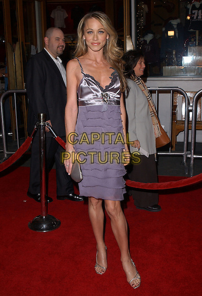 "CHRISTINE TAYLOR .Universal Pictures' Premiere of ""Meet The Fockers"" held at Universal City Walk in Universal City, California  December 16th, 2004.full length, purple layered, ruffled dress, silk satin.www.capitalpictures.com.sales@capitalpictures.com.Supplied By Capital PIctures"
