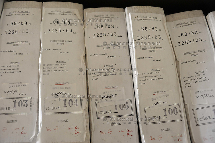 Roma, Maggio 2011.Archivio Giudiziario della corte D'Assise.Le Carte relative al processo per insurrezione