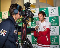 Switserland, Genève, September 17, 2015, Tennis,   Davis Cup, Switserland-Netherlands, Draw, interview with Roger Federer<br /> Photo: Tennisimages/Henk Koster