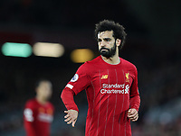 2nd January 2020; Anfield, Liverpool, Merseyside, England; English Premier League Football, Liverpool versus Sheffield United; Mohammed Salah of Liverpool signals to team mate Trent Alexander-Arnold of Liverpool before a he takes a corner kick  - Strictly Editorial Use Only. No use with unauthorized audio, video, data, fixture lists, club/league logos or 'live' services. Online in-match use limited to 120 images, no video emulation. No use in betting, games or single club/league/player publications