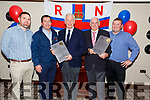 Pictured at the retirement party for Richard Foran and Timothy Lyne from the Valentia RNLI on Saturday in the Royal Hotel Valentia were l-r; Colum O'Connell(Incoming Lifeboat Operation Manager), Richard Quigley(Cox), Richard Foran(LOM 20 years of Service), Timothy Lyne(DLA 1982-2019 & Treasurer 1999-2019) & Leo Houlihan(Engineer Valentia Lifeboat).