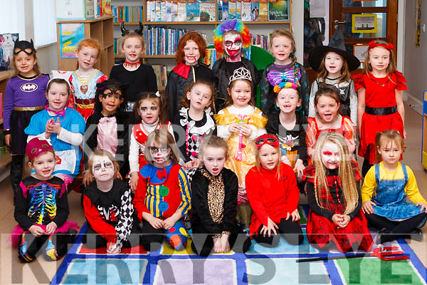 "Junior and Senior Infants from Social Mháthair Dé Abbeyfeale are  ready for ""trick or treating""."