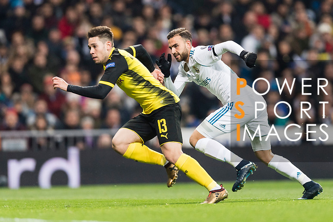 Borussia Dortmund Defender Raphael Guerreiro (L) fights for position with Borja Mayoral of Real Madrid (R) during the Europe Champions League 2017-18 match between Real Madrid and Borussia Dortmund at Santiago Bernabeu Stadium on 06 December 2017 in Madrid Spain. Photo by Diego Gonzalez / Power Sport Images