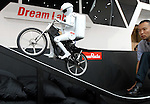 """Murata Manufacturing Co.'s """"Murata Boy,"""" a cycing humanoid robot, is shown at a toy show in  Japan."""