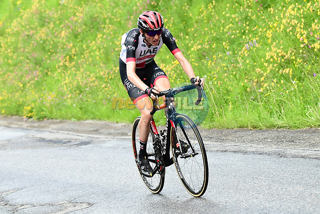Dan Martin (IRL) UAE-Team Emirates attacks with 3km to the finish of Stage 5 of the 2018 Criterium du Dauphine 2018 running 130km from Grenoble to Valmorel, France. 8th June 2018.<br /> Picture: ASO/Alex Broadway | Cyclefile<br /> <br /> <br /> All photos usage must carry mandatory copyright credit (© Cyclefile | ASO/Alex Broadway)
