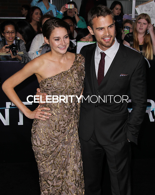 "WESTWOOD, LOS ANGELES, CA, USA - MARCH 18: Shailene Woodley, Theo James at the World Premiere Of Summit Entertainment's ""Divergent"" held at the Regency Bruin Theatre on March 18, 2014 in Westwood, Los Angeles, California, United States. (Photo by Xavier Collin/Celebrity Monitor)"