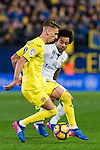 Samuel Castillejo Azuaga (l) of Villarreal CF battles for the ball with Marcelo Vieira Da Silva of Real Madrid during their La Liga match between Villarreal CF and Real Madrid at the Estadio de la Cerámica on 26 February 2017 in Villarreal, Spain. Photo by Maria Jose Segovia Carmona / Power Sport Images