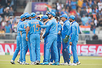 India celebrate the wicket of Guptill during India vs New Zealand, ICC World Cup Semi-Final Cricket at Old Trafford on 9th July 2019