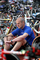 17 JUL 2005 - ASHFORD, UK - A competitor waits in transition for his wave start at the British Age Group Triathlon Championships. (PHOTO (C) NIGEL FARROW)