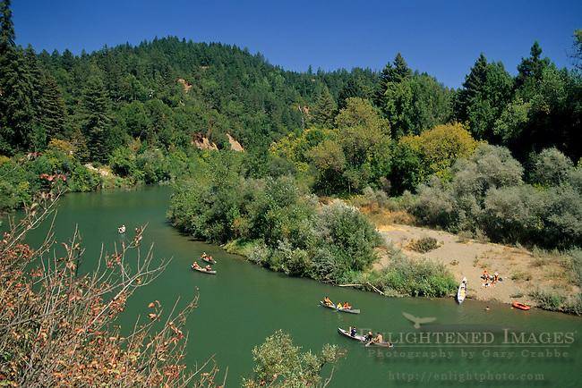 Canoeing on the Russian River near Rio Nido, Sonoma County, California