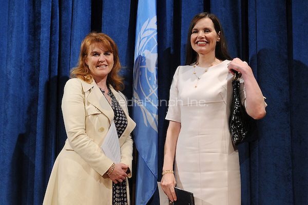 Geena Davis and Sarah Ferguson, The Duchess of York, at the conference for 'Engaging Philanthropy to Promote Gender Equality and Women's Empowerment' at United Nations Headquarters in New York City. February 22, 2010. Credit: Dennis Van Tine/MediaPunch