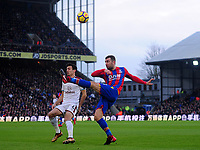 Burnley's Jack Cork vies for possession with Crystal Palace's James McArthur<br /> <br /> Photographer Ashley Crowden/CameraSport<br /> <br /> The Premier League - Crystal Palace v Burnley - Saturday 13th January 2018 - Selhurst Park - London<br /> <br /> World Copyright &copy; 2018 CameraSport. All rights reserved. 43 Linden Ave. Countesthorpe. Leicester. England. LE8 5PG - Tel: +44 (0) 116 277 4147 - admin@camerasport.com - www.camerasport.com