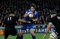 France's Maxime Medard tries to beat NZ's Rieko Ioane (left) and NZ's Luke Whitelock during the Steinlager Series international rugby match between the New Zealand All Blacks and France at Eden Park in Auckland, New Zealand on Saturday, 9 June 2018. Photo: Dave Lintott / lintottphoto.co.nz