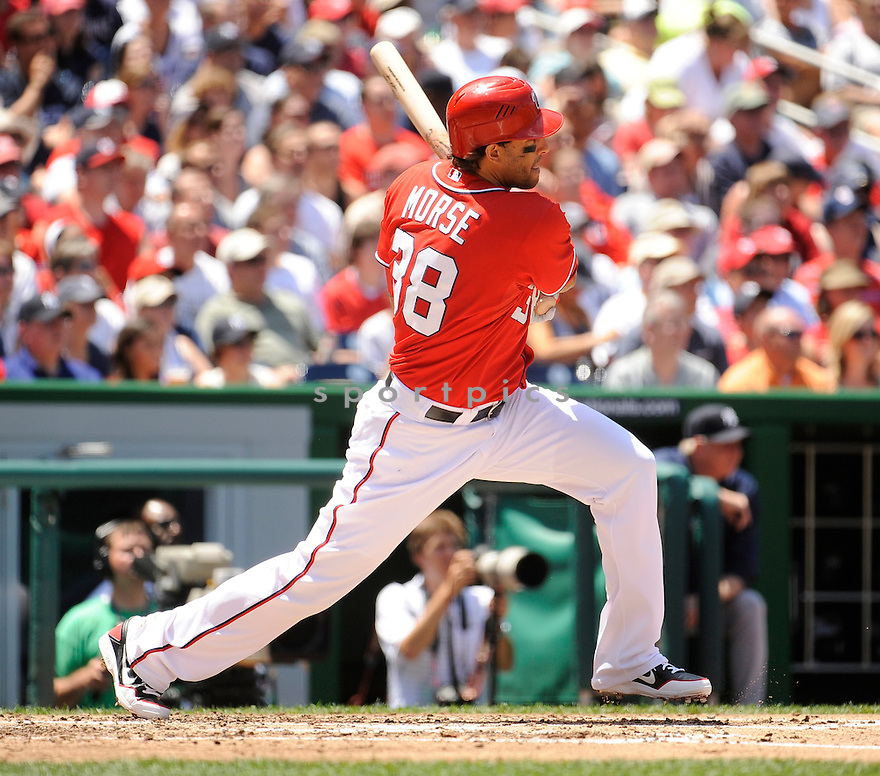MICHAEL MORSE (38) of the Washington Nationals, in action during the Nationals game against the New York Yankees on June 16, 2012 at Nationals Park in Washington DC. The Yankees beat the Nationals 5-3.