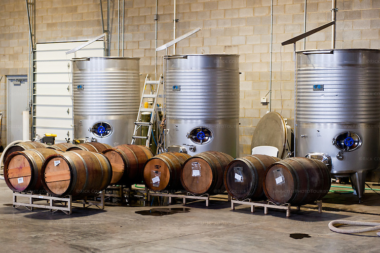 In the working spaces at Davis Valley Winery.