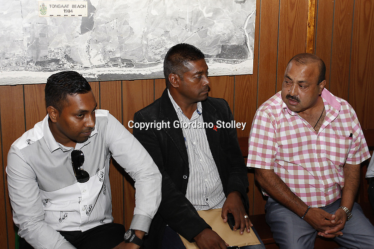 DURBAN -11 February 2014 -  Controversal businessman Jay Singh (right) with his son Ravi Jagadasan (left) and his pastor Mervyn Reddy at the commission of inquiry by the department of into the events that led to a Tongaat Mall collapsing, killing two people and injuring 29 on November 19, 2013. Picture: Allied Picture Press/APP