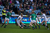 16th March 2018, Ricoh Arena, Coventry, England; Womens Six Nations Rugby, England Women versus Ireland Women; Danielle Waterman of England passes the ball off as she is tackled