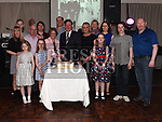 Damien and Christina Flanagan celebrating their 50th wedding anniversary in the Westcourt Hotel with son Darren and daughters Sandra, Linda, Carol and partners Fenella, Declan and Martin and grandchildren Robert, Kevin, Eoin, Aisling, Niamh and Caille. Photo: Colin Bell/Pressphotos.ie