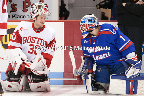 Connor LaCouvee (BU - 30) and Jeff Smith (UML - 1) played against each other in the BCHL. - The Boston University Terriers defeated the visiting UMass Lowell River Hawks 4-3 (OT) on Sunday, January 18, 2015, at Agganis Arena in Boston, Massachusetts.