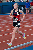 Illinois native and Hannibal LaGrange College NAIA All-American Kristen Garwood runs to a 5th place finish in the women's unseeded 5k in 18:10.86 at the 2015 Kansas Relays.