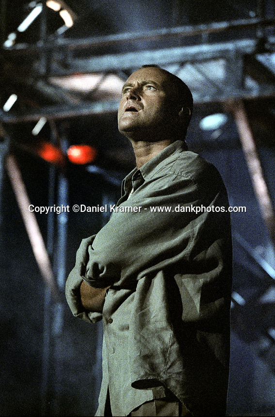 Phil Collins performs at the Shoreline Amphitheatre in Mountain View, California during his 1994 Both Sides world tour.