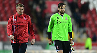 Lincoln City's Paul Farman, left, and Lincoln City's Josh Vickers at the end of the game<br /> <br /> Photographer Chris Vaughan/CameraSport<br /> <br /> The Carabao Cup First Round - Rotherham United v Lincoln City - Tuesday 8th August 2017 - New York Stadium - Rotherham<br />  <br /> World Copyright &copy; 2017 CameraSport. All rights reserved. 43 Linden Ave. Countesthorpe. Leicester. England. LE8 5PG - Tel: +44 (0) 116 277 4147 - admin@camerasport.com - www.camerasport.com